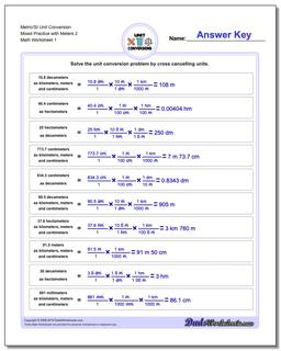 Metric SI Unit Conversion Worksheets Metric/SI Conversion Mixed Practice with Meters 2