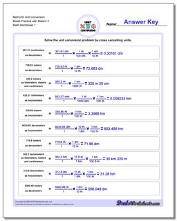 Metric SI Unit Conversion Worksheets Metric/SI Conversion Mixed Practice with Meters 3