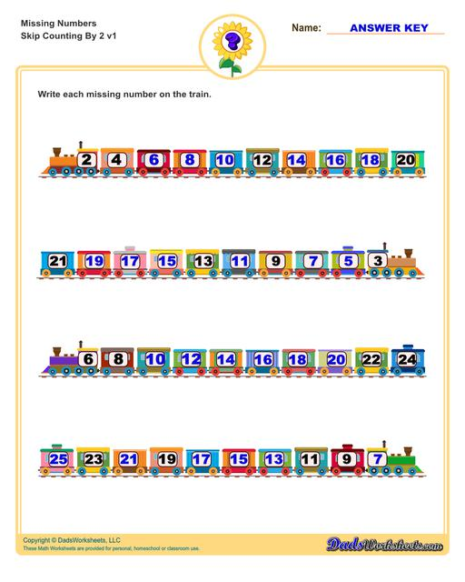 These missing numbers worksheets are appropriate for preschool and kindergarten age students for counting practice. Each worksheet shows a sequence of numbers in ascending or descending order and the student fills in missing values to complete the series.  Counting By 2 V2