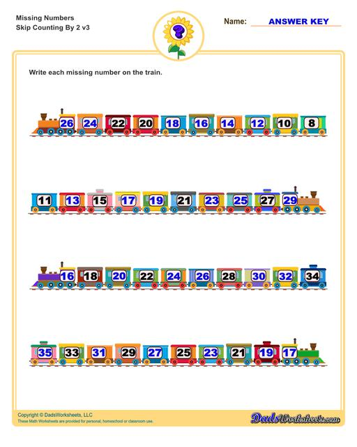 These missing numbers worksheets are appropriate for preschool and kindergarten age students for counting practice. Each worksheet shows a sequence of numbers in ascending or descending order and the student fills in missing values to complete the series.  Counting By 2 V3