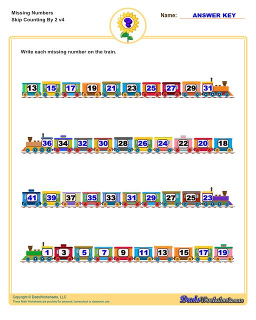 These missing numbers worksheets are appropriate for preschool and kindergarten age students for counting practice. Each worksheet shows a sequence of numbers in ascending or descending order and the student fills in missing values to complete the series.  Counting By 2 V4