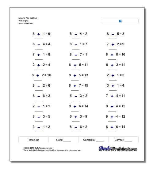 Missing Operations Add Subtract With Eights Worksheet