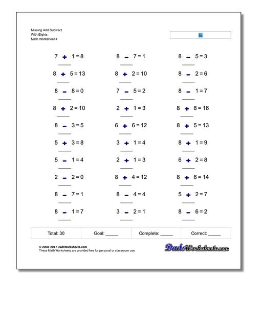 Missing Add Subtract With Eights Worksheet