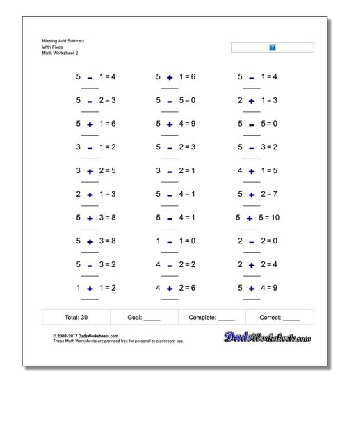 Missing Add Subtract With Fives www.dadsworksheets.com/worksheets/missing-operations.html Worksheet