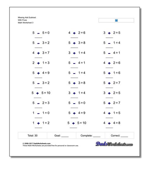 Missing Add Subtract With Fives Worksheet