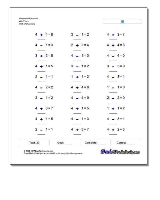 Missing Add Subtract With Fours www.dadsworksheets.com/worksheets/missing-operations.html Worksheet