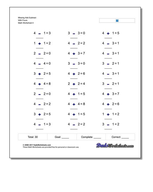 Missing Add Subtract With Fours Worksheet