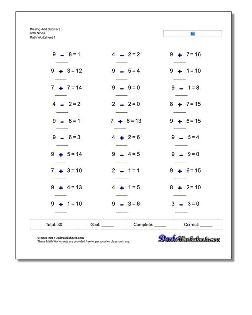 Missing Operations Add Subtract With Nines Worksheet