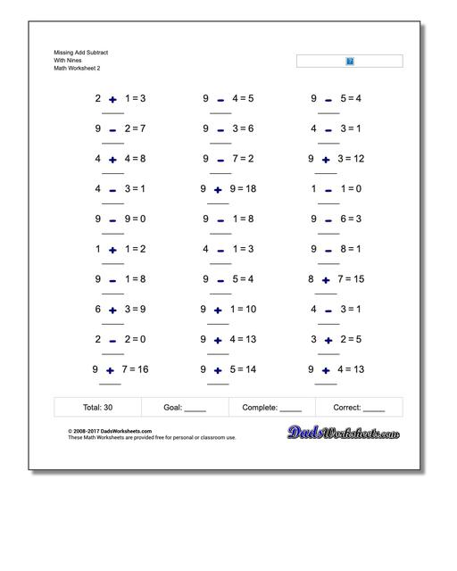 Missing Add Subtract With Nines www.dadsworksheets.com/worksheets/missing-operations.html Worksheet