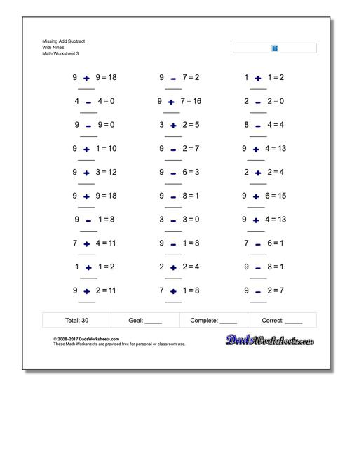 Missing Add Subtract With Nines Worksheet