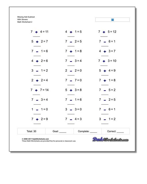 Missing Add Subtract With Sevens www.dadsworksheets.com/worksheets/missing-operations.html Worksheet