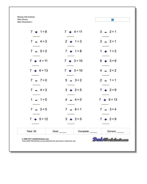 Missing Add Subtract With Sevens Worksheet
