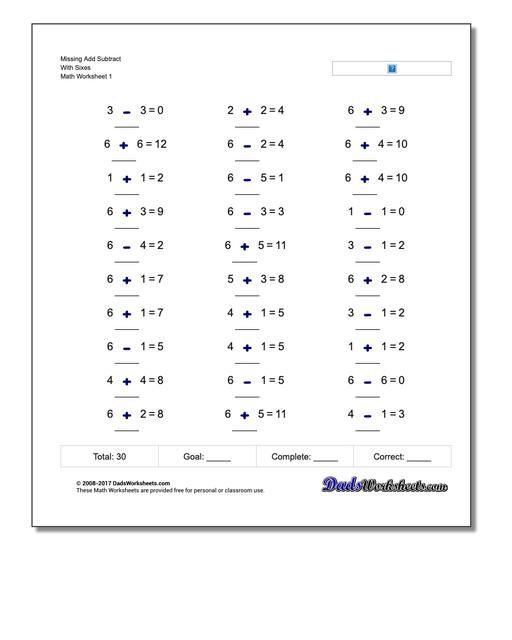Missing Operations Add Subtract With Sixes Worksheet