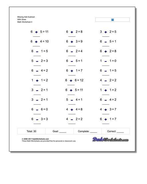 Missing Add Subtract With Sixes Worksheet