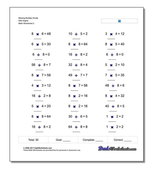 Missing Multiply Divide With Eights www.dadsworksheets.com/worksheets/missing-operations.html Worksheet