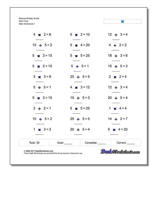 Missing Operations Multiply Divide With Fives Worksheet