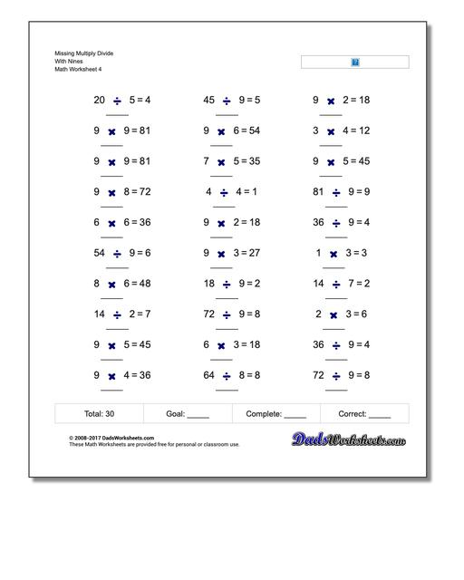 Missing Multiply Divide With Nines Worksheet