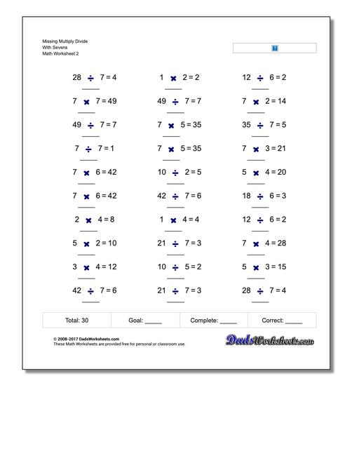 Missing Multiply Divide With Sevens www.dadsworksheets.com/worksheets/missing-operations.html Worksheet