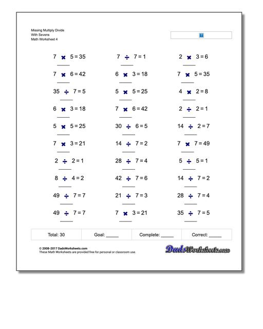 Missing Multiply Divide With Sevens Worksheet