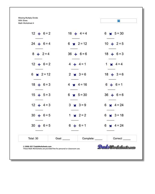 Missing Multiply Divide With Sixes Worksheet