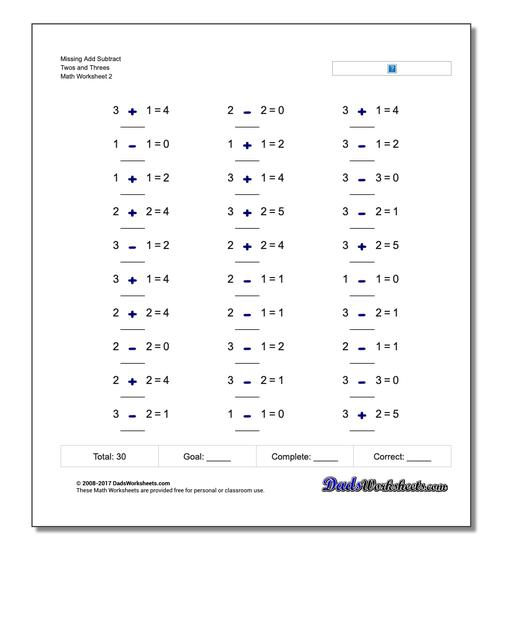 Missing Add Subtract Twos and Threes www.dadsworksheets.com/worksheets/missing-operations.html Worksheet