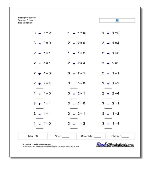 Missing Add Subtract Twos and Threes Worksheet