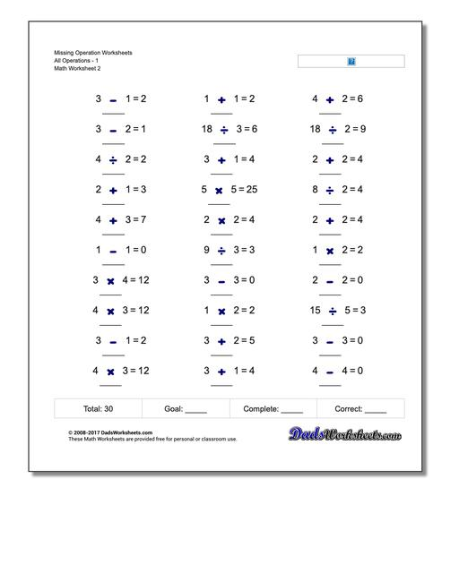 Missing Operation Worksheet All Operations1 www.dadsworksheets.com/worksheets/missing-operations.html