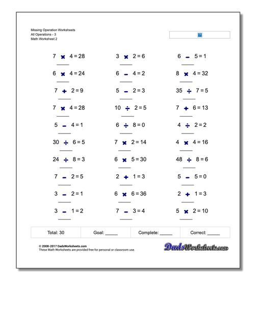 Missing Operation Worksheet All Operations3 www.dadsworksheets.com/worksheets/missing-operations.html