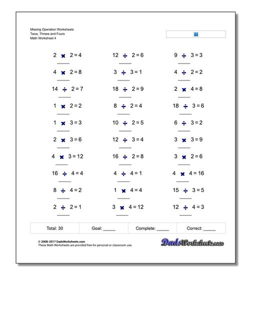 Missing Operation Worksheet Twos, Threes and Fours