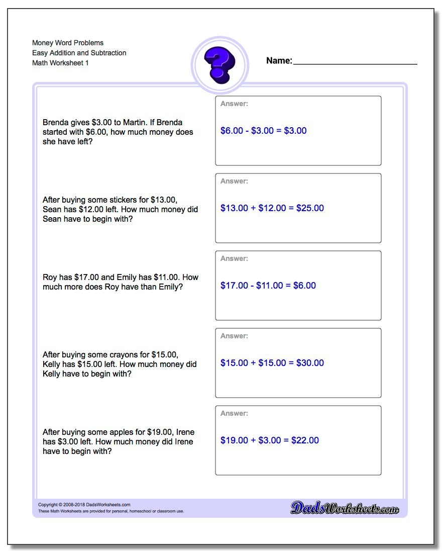 Worksheets 3rd Grade Word Problems Worksheet money word problems
