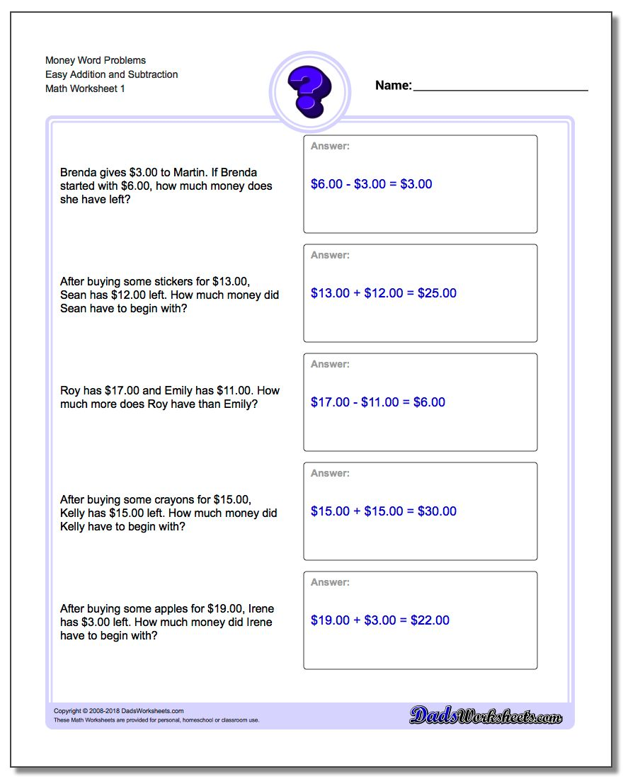 Math worksheets money word problems ibookread PDF