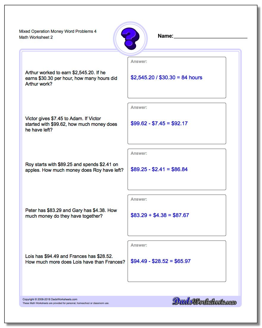 Mixed Operation Money Word Problems Worksheet 4 www.dadsworksheets.com/worksheets/money-word-problems.html