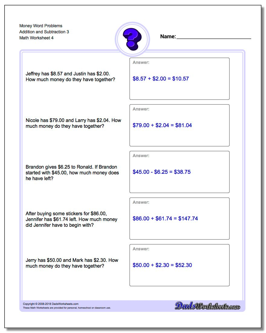 Money Word Problems Worksheet Addition Worksheet and Subtraction Worksheet 3