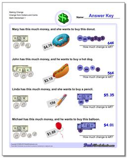 Making Change Change from Dollars and Cents Money Worksheet