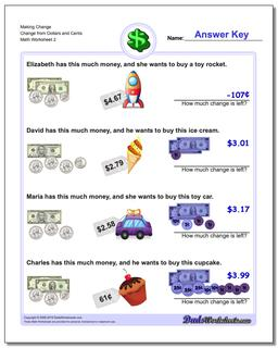 Making Change Change from Dollars and Cents Worksheet #Money #Worksheet