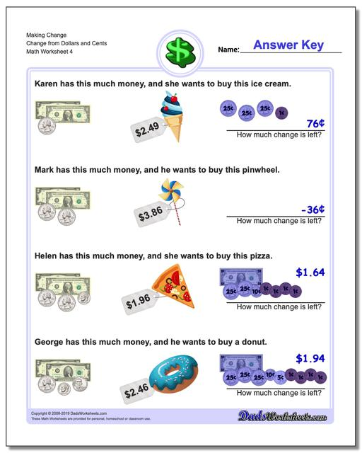Making Change Change from Dollars and Cents Worksheet