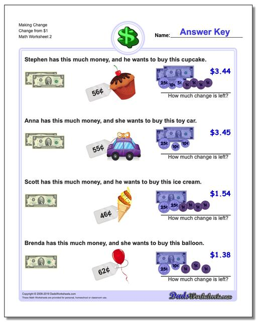 Making Change Change from $1 www.dadsworksheets.com/worksheets/money.html Worksheet
