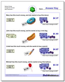 Making Change Change from Do1lars Worksheet #Money #Worksheet