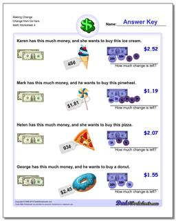 Making Change Change from Do1lars Worksheet #Money #Worksheet