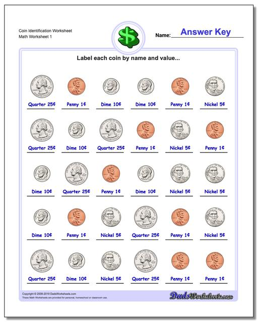 Coin Identification Money Worksheets