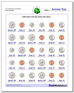 Coin Identification Worksheet Money