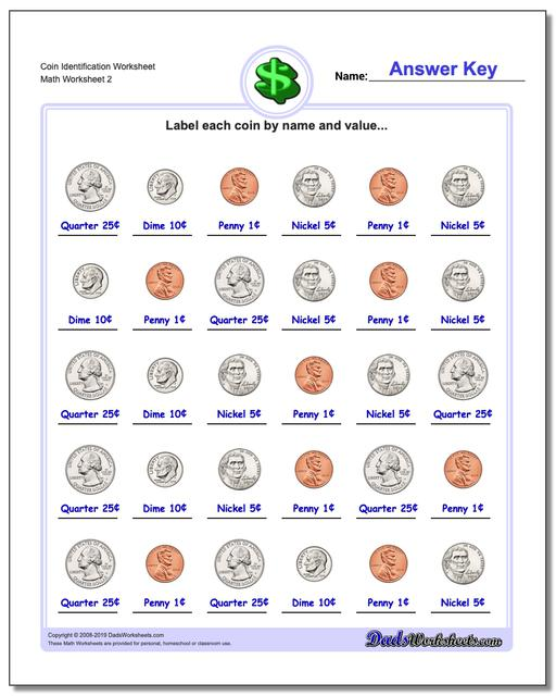Coin Identification Worksheet www.dadsworksheets.com/worksheets/money.html