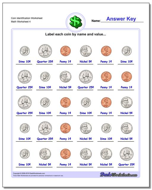 Coin Identification Worksheet