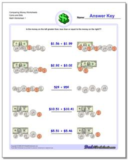 Money Comparing Worksheet Coins and Bills