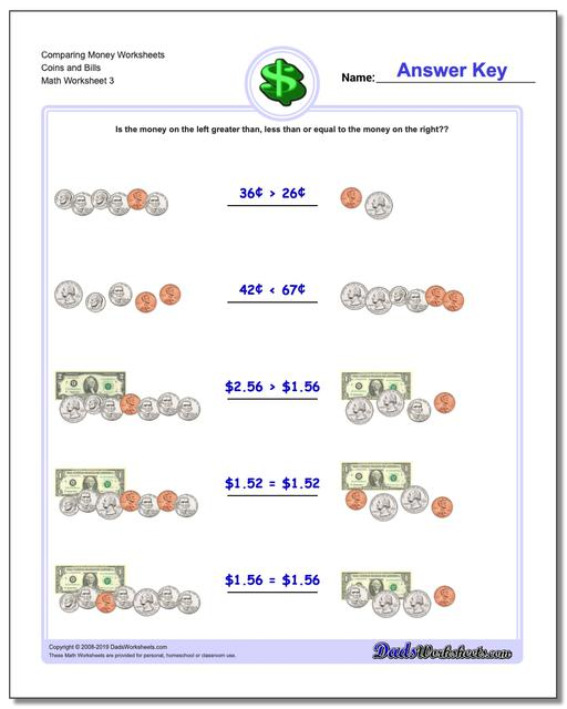Comparing Money Worksheet Coins and Bills