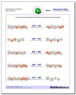 Comparing Money Worksheet for www.dadsworksheets.com/worksheets/money.html