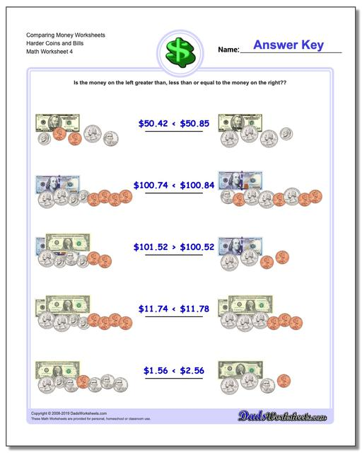 Comparing Money Worksheet Harder Coins and Bills
