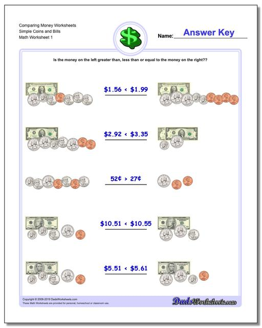 Money Comparing Worksheets Simple Coins and Bills