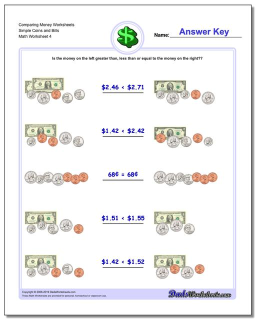 Comparing Money Worksheet Simple Coins and Bills