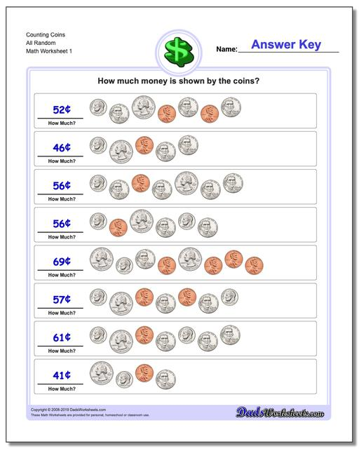 Counting Coins All Random Money Worksheet